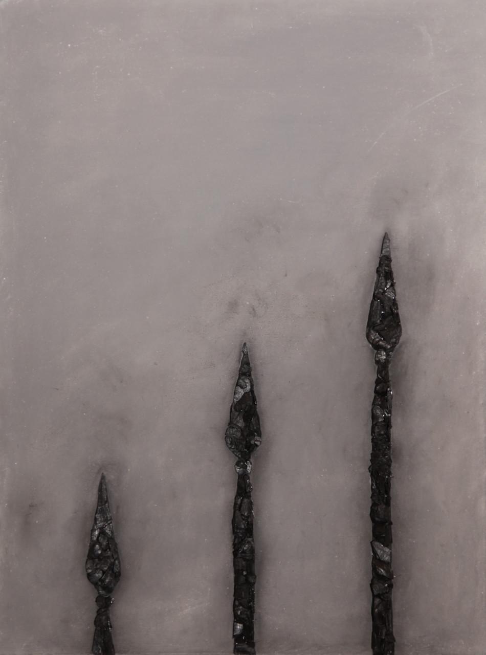 Senza titolo, 2017, cenere e carbone su tela, 80x60