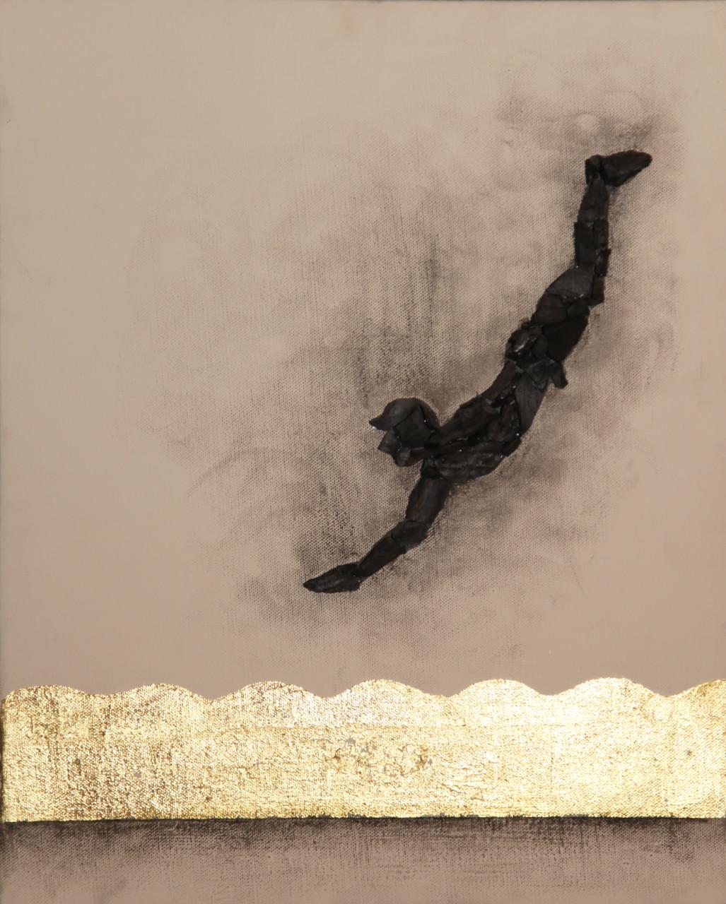 Bei tempi, 2016, cenere, carbone e foglia oro su tela, 50x40