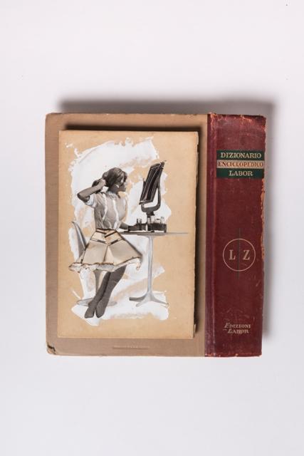 Liz, 2018, copertina enciclopedia 1960, frammento di mappa nautica 1960, acrilico, carta velina cm 53x35