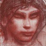 Pietro Annigoni, Volto femminile, 1980, sanguigna su carta, cm 38x28