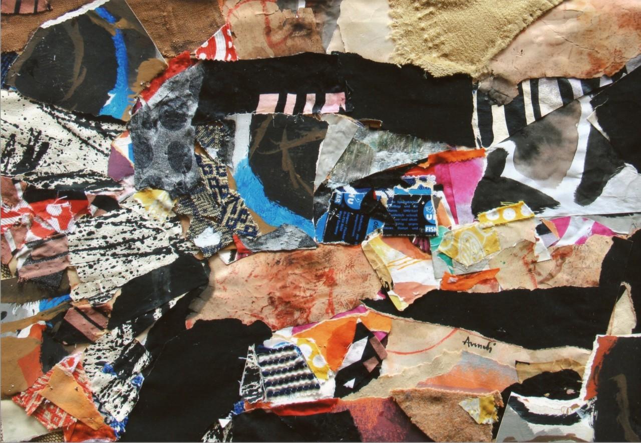 Marcello Avenali, Senza titolo, 1970, collage di stoffe, cm 40x55