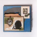Donna, 2018, Retrocopertina porta 33 giri raccolta di Beethoven, cartolina antica, portafoto, magazine 1950 , acrilico , carta da parati, frammento e copertina di libro 1960,  cm 45x32