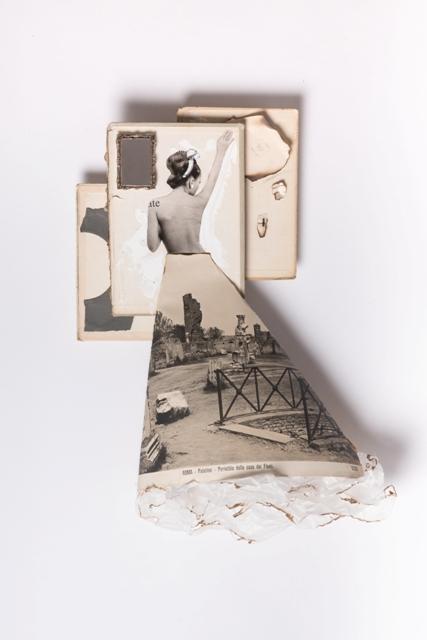 Flavia, 2018, 3 copertine di libro 1950-1960, stampa fotografica originale fine 800, magazine 1960 cornice in argento, carta velina acrilico, cm 50x68