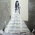 Indian Queen, 2017, copertina del libro raccolta di epoca 1960,collage rivista di moda 1960,colori acrilici, fuoco, spartiti musicali per clarinetto (primi 900), cm 78x60