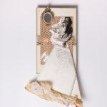 Judy, 2018, copertina libro 1963 di carta fiorentina copertina di libro 1950 , magazine 1970, acrilico, mappa nautica fine 800 piccolo specchio tasto macchina da scrivere, cartolina antica, cm 45x75