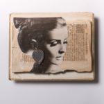 Rothal, 2018, Porta foro in argento, magazine 1960, documenti antichi, acrilico, cm 40x32