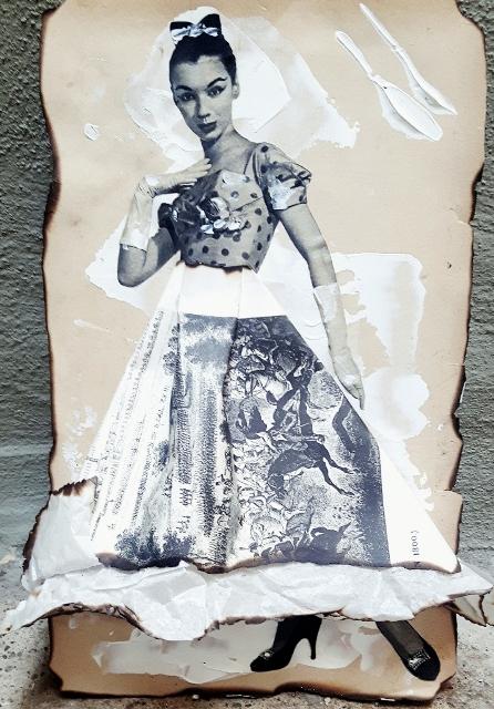Stella, 2017, prima pagina libro 1900, cartone, fuoco, colori acrilici, stampa francese antica, collage rivista di moda 1960, cm 28x19