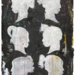 Belle sagome acrilici e carbone su carta cm. 117,5x78,5 ok
