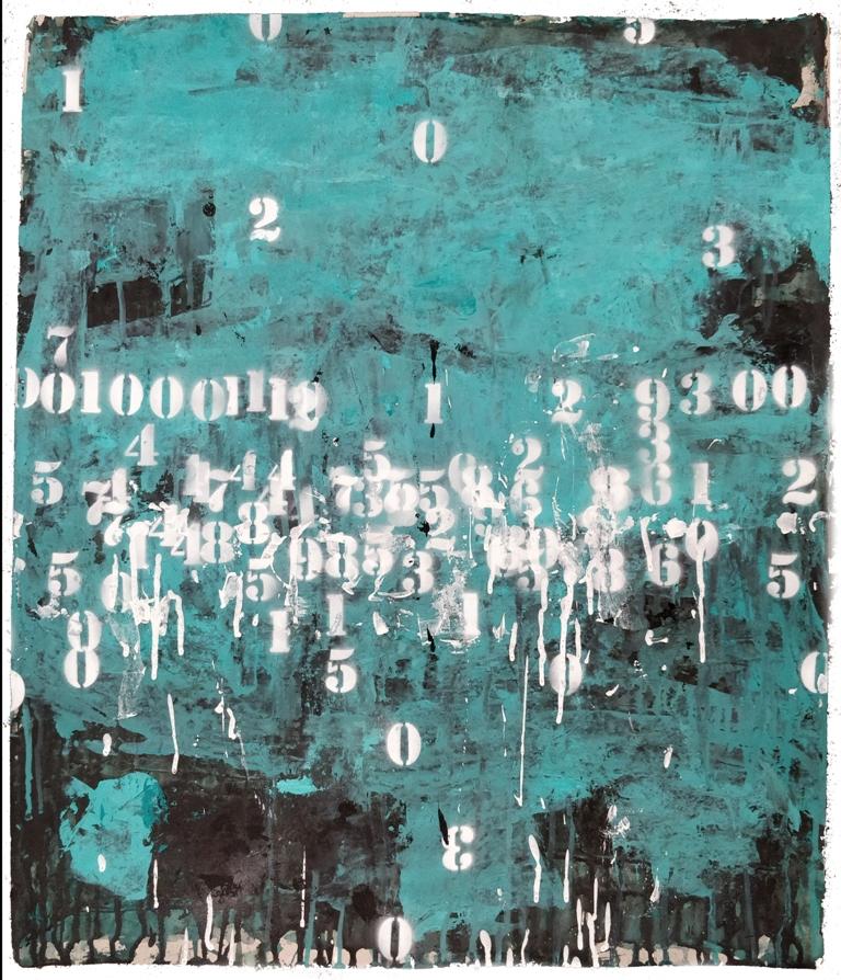 Famiglie numerose acrilici e smalti spray su carta cm. 70x59,5 ok