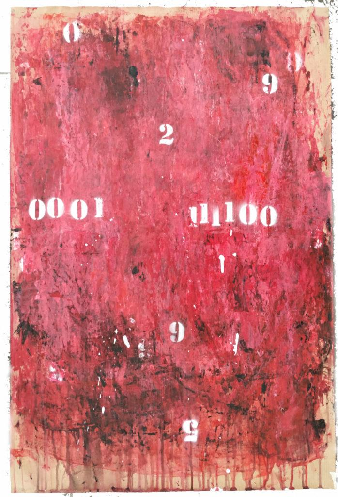 Famiglie numerose acrilici e smalti spray su carta cm. 74x49