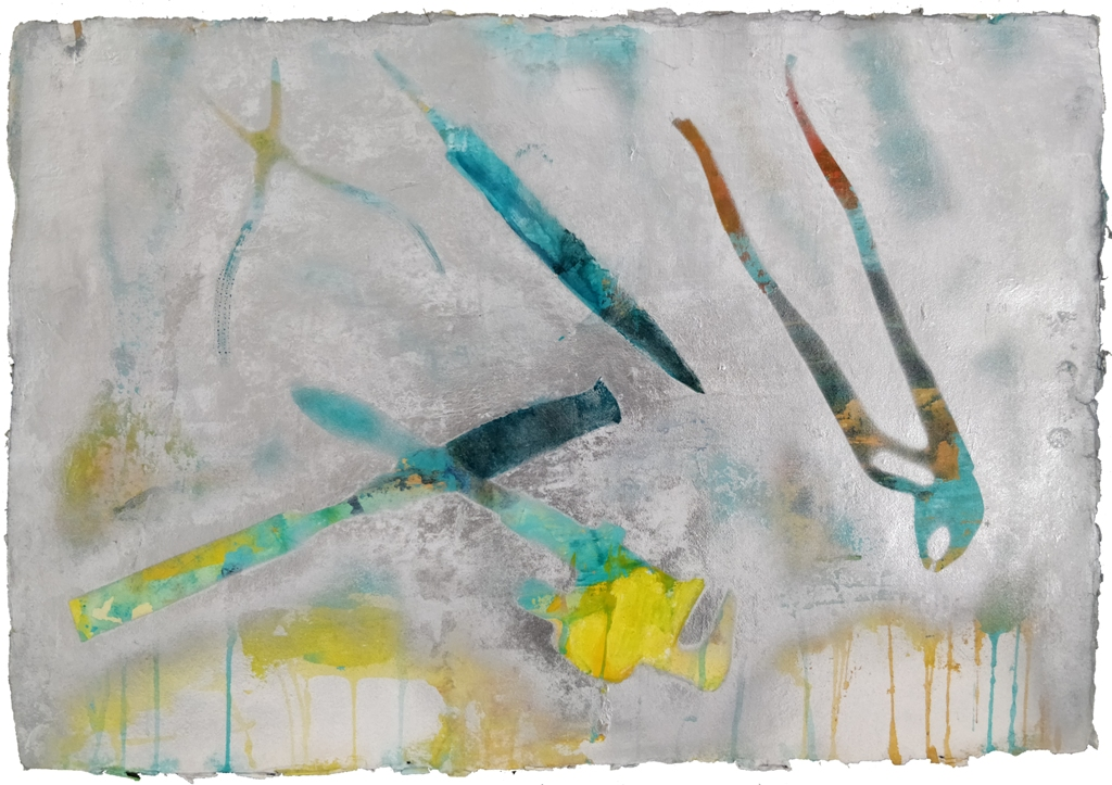 Ricordi di ferro acrilici e smalti spray su carta cm. 35x50