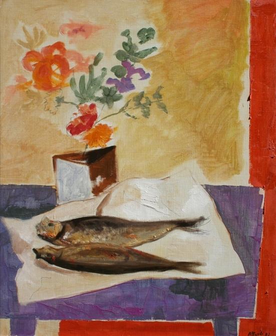 """""""Natura morta con aringhe"""" 1970, olio su tela, cm. 65x54"""