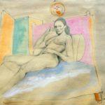 """""""Nudo femminile"""" 1970, tecnica mista su carta, cm. 35x50"""