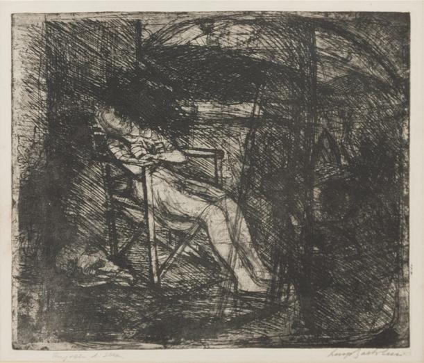 """""""Ragazza di sera"""" (1950), acquaforte, cm. 35x42"""