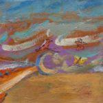 """""""La pesca del pesce spada"""" (1950), olio su cartoncino intelato, cm. 27x70,5"""