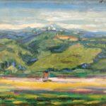 """""""Paesaggio"""" 1950, olio su cartone, cm. 36x45"""