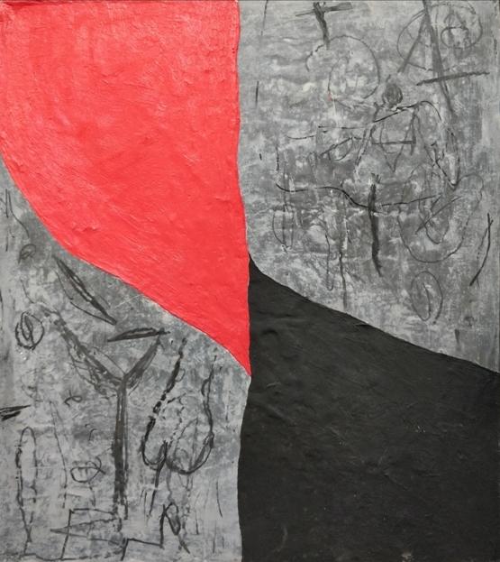 """""""Non può avere titolo"""" 1999, olio e carbone su piombo, cm. 45x40"""
