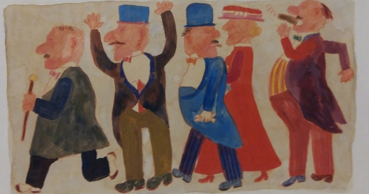 """Personaggi"" 1980, tempera su carta, cm. 17x32"