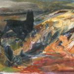"""Figura distesa"" 1980, olio su tela, cm. 40x50"