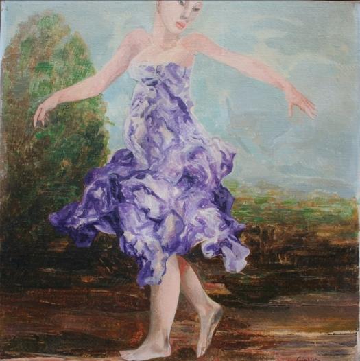 """""""Figura femminile"""" 1980, olio su tela, cm. 50x50"""