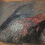 """Interno"" 1986, tecnica mista su carta intelata, cm. 100x150"