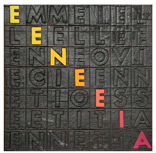 """Enneeia"" 1970, legno cobusto e acrilici, cm. 48x48x3"