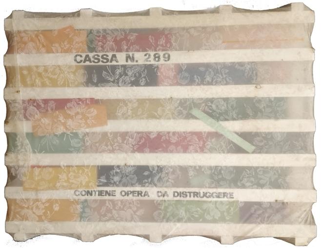 """""""Cassa 289""""1968, scultura in legno e stoffa, cm. 50x60"""