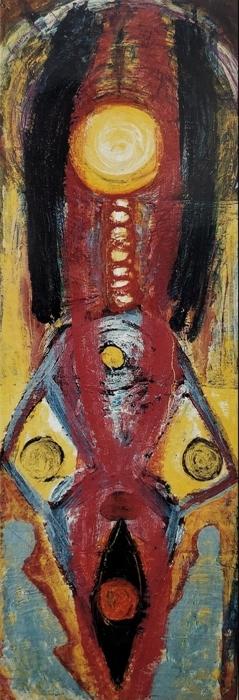 """""""Senza titolo"""" 1988, pitto-scultura, cm. 172x60"""