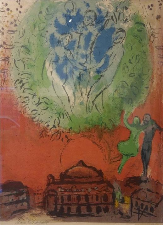 """L'opera"" 1954, litografia, cm. 38x28"