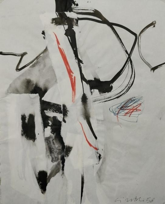 """""""Senza Titolo"""" 1958, tecnica mista su carta, cm. 29x23"""