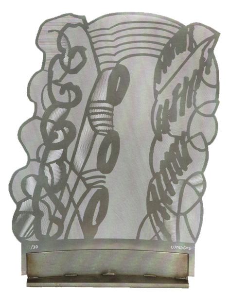 """""""Grande sottilissima"""" (1990), scultura multiplo in metallo, esemplare n 27/30, cm. 35x25x6"""