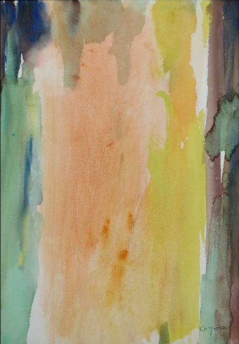 """""""Viaggio in Egitto"""" (1990), acquerello su cartoncino, cm. 51x36"""