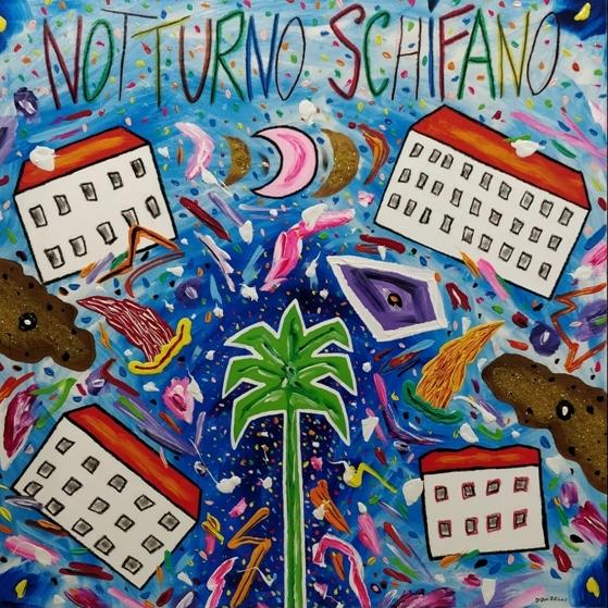 """""""Notturno Schifano"""" (2005), acrilico su tela, cm. 100x100"""