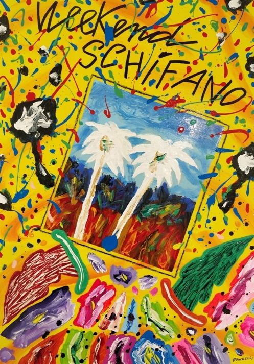 """Weekend Schifano"" 2017, tecnica mista su tela, cm. 70x50"