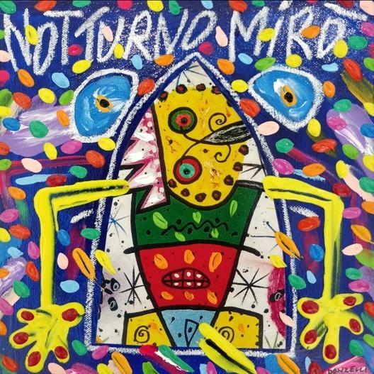 """""""Notturno Mirò"""" (2005), acrilico su tela, cm. 25x25"""