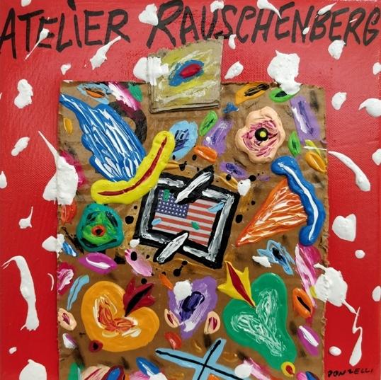 """Atelier Rauschenberg"" (2005), acrilico su tela, cm. 25x25"