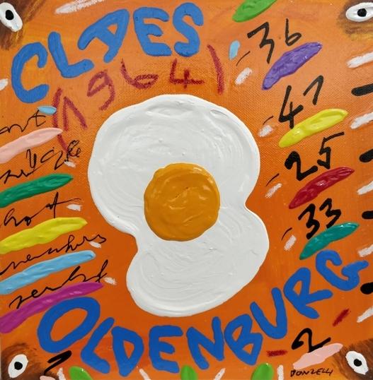 """""""Claes Oldemburg"""" (2005), acrilico su tela, cm. 25x25"""