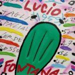 """Lucio Fontana"" (2005), acrilico su tela, cm. 25x25"