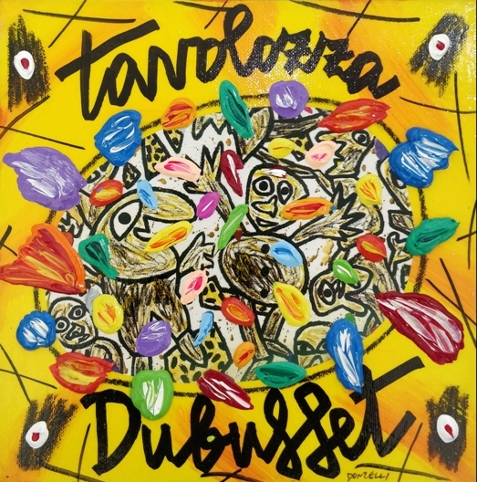 """Tavolozza Dubuffet"" (2005), acrilico su tela, cm. 25x25"