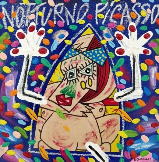 """""""Notturno Picasso"""" (2005), acrilico su tela, cm. 25x25"""