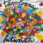 """""""Tavolozza futurista"""" (2005), acrilico su tela, cm. 30x35"""