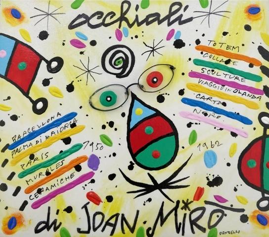 """""""Occhiali di Mirò"""" (2005), acrilico su tela, cm. 30x35"""
