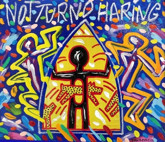 """Notturno Haring"" (2005), acrilico su tela, cm. 30x35"