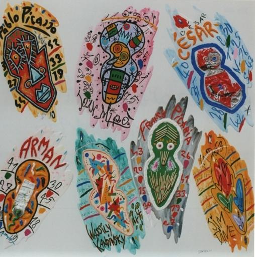 "-""Ormare"" (1998), olio ed applicazioni su tela, cm.70x80"