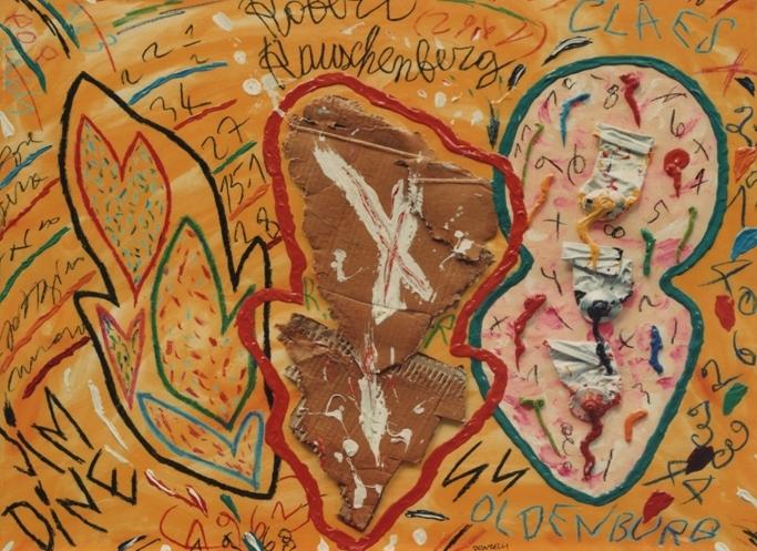 """Ormare"" 1998, olio ed applicazioni su tela, cm. 100x100"