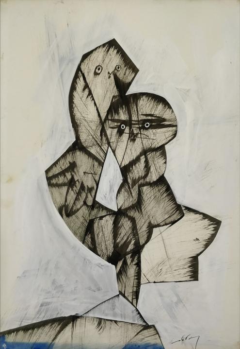 """""""Senza titolo"""" (1970), tempera su carta, cm. 50x35"""