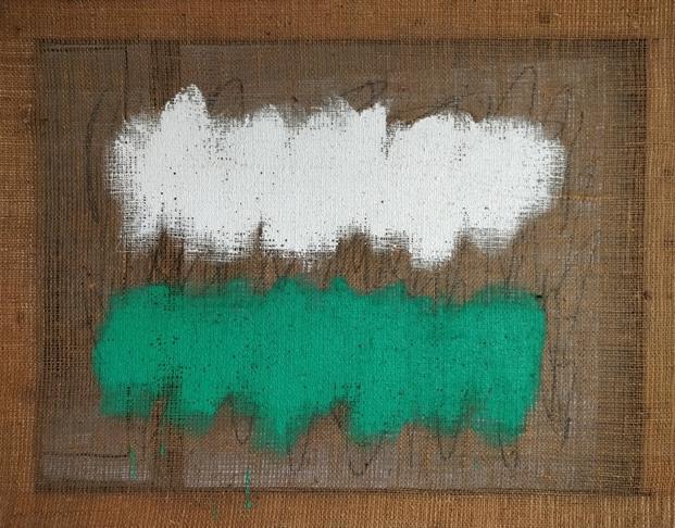 """""""Senza titolo"""" 1991, terra colorata su tela juta, cm. 70x90"""