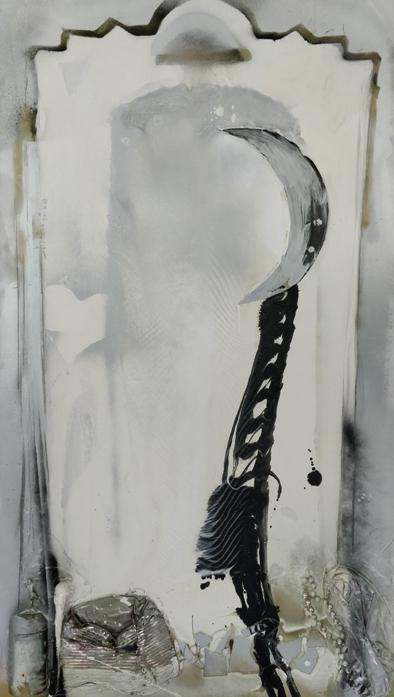 """""""Lente amnesie"""" 2008, olio e tecnica mista su tela, cm. 140x80"""