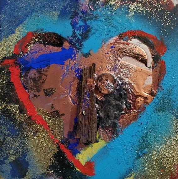 """Cuore"" 2008, olio ed applicazioni su tela, cm. 20x20"
