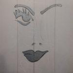 """""""L'enigmatica"""" 1969, tecnica mista su carta, cm. 34x23,5"""